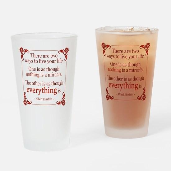 Einstein on Miracles Drinking Glass