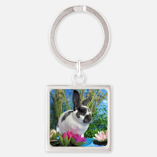 Buttercup Bunny on Lily Pads-1 Square Keychain