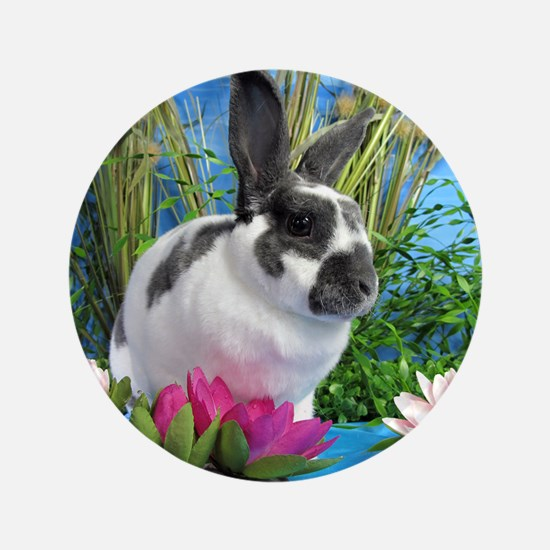 """Buttercup Bunny on Lily Pads-1 3.5"""" Button"""