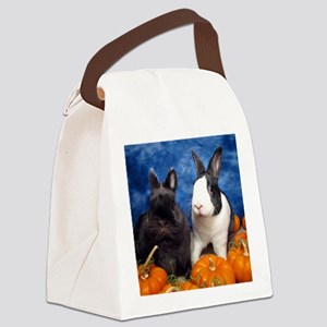 Tiny Tim and Dixie in Pumpkin Pat Canvas Lunch Bag