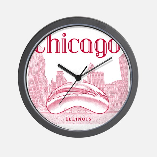 Chicago_10x10_ChicagoBeanSkylineV1_Red Wall Clock