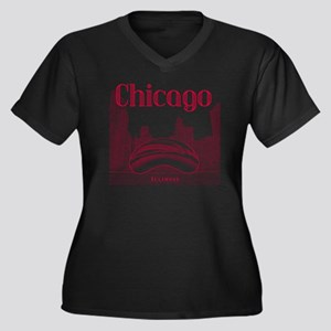 Chicago_10x1 Women's Plus Size Dark V-Neck T-Shirt