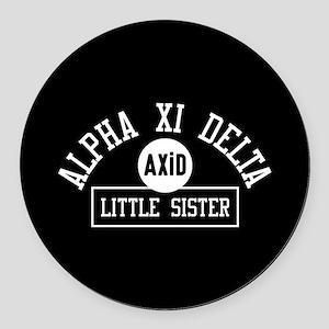Alpha Xi Delta Little Sister Athl Round Car Magnet