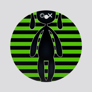 Goth Green and Black Bunny Round Ornament