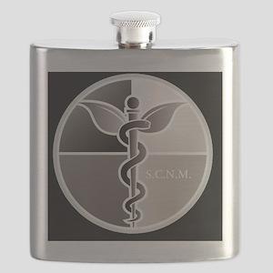 SCNM Medicine Wheel BW Logo Flask
