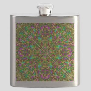 Yellow Green and Pink Mandala Pattern Flask