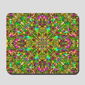 Yellow Green and Pink Mandala Pattern Mousepad