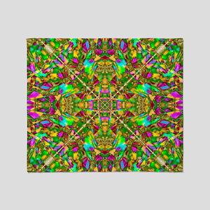 Yellow Green and Pink Mandala Patter Throw Blanket