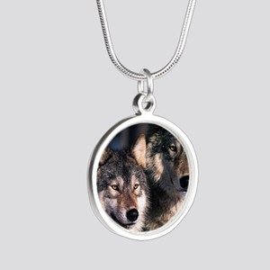 two wolf Silver Round Necklace