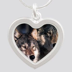 two wolf Silver Heart Necklace