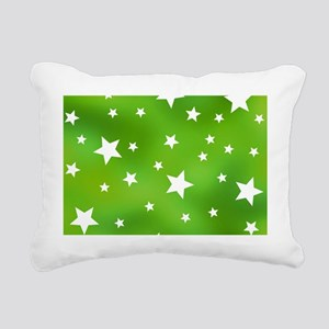 Lime Green and White Sta Rectangular Canvas Pillow