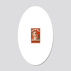 1910 Japanese Lion and Cat M 20x12 Oval Wall Decal