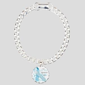 I Wear Light Blue Becaus Charm Bracelet, One Charm