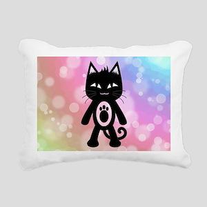 Kawaii Rainbow and Black Rectangular Canvas Pillow
