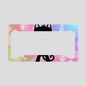 Kawaii Rainbow and Black Cat License Plate Holder