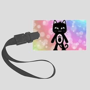 Kawaii Rainbow and Black Cat Large Luggage Tag
