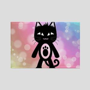 Kawaii Rainbow and Black Cat Rectangle Magnet