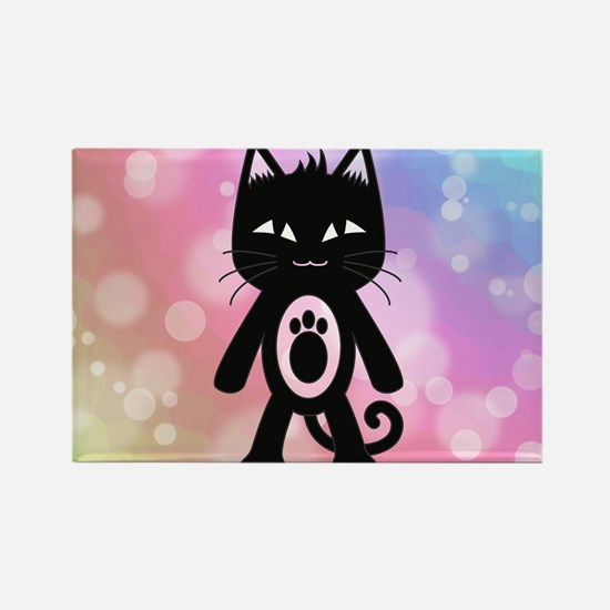 Kawaii Rainbow and Black Cat Rectangle Magnet