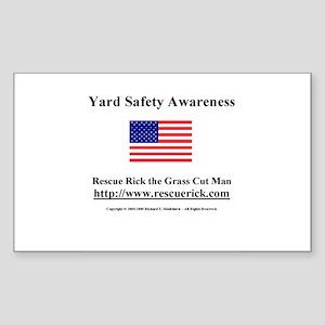 Yard Safety Awareness Rectangle Sticker