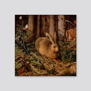 """Rabbit In The Woods Square Sticker 3"""" x 3"""""""