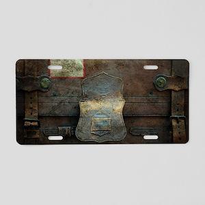 ANTIQUE steamer TRUNK Aluminum License Plate