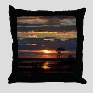 Hunting Island SC Sunset Throw Pillow