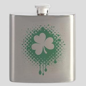 Irish Shamrock grunge Flask