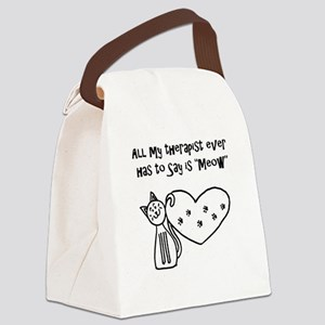 My Cat Therapist Canvas Lunch Bag