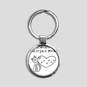 My Cat Therapist Round Keychain