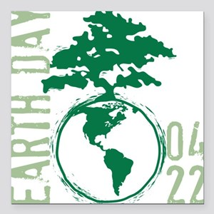 "Earth Day 04/22 Square Car Magnet 3"" x 3"""