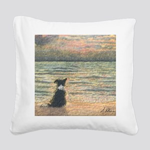 A Border Collie dog says hell Square Canvas Pillow