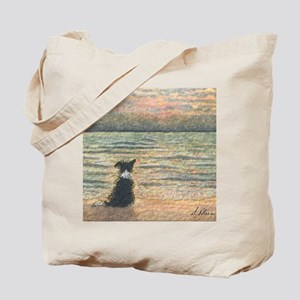 A Border Collie dog says hello to the mor Tote Bag