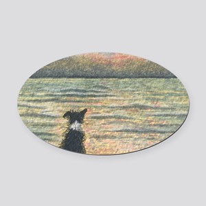 A Border Collie dog says hello to  Oval Car Magnet