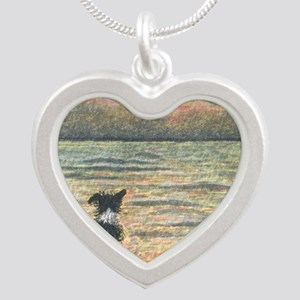 A Border Collie dog says hel Silver Heart Necklace