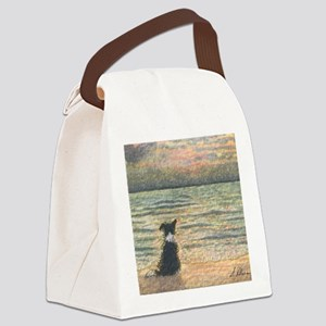 A Border Collie dog says hello to Canvas Lunch Bag