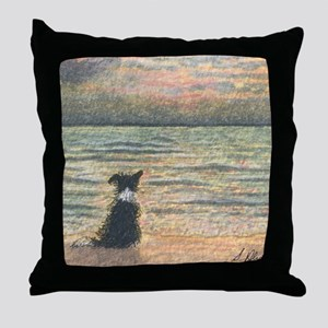 A Border Collie dog says hello to the Throw Pillow
