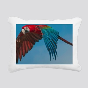 Green-winged Macaw Steve Rectangular Canvas Pillow