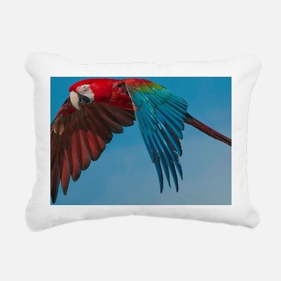 Green-winged Macaw Steve Rectangular Canvas Pillow