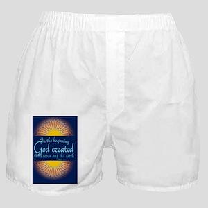 Genesis 1 1 Bible Verse Sunrise Boxer Shorts