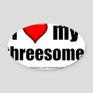 I Love My Threesome lightapparel Oval Car Magnet