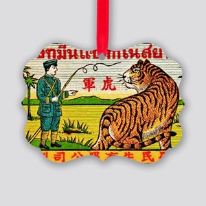 Antique Thailand Tiger Tamer Matc Picture Ornament