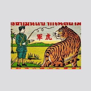 Antique Thailand Tiger Tamer Matc Rectangle Magnet