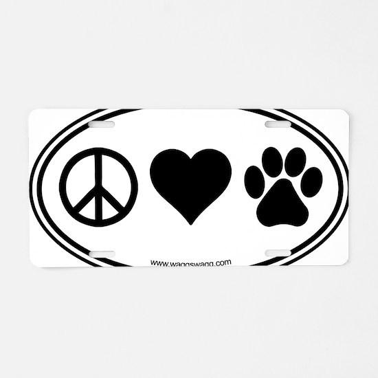 Peace Love Paws Black Aluminum License Plate