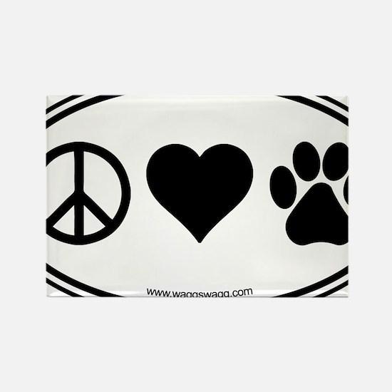 Peace Love Paws Black Rectangle Magnet