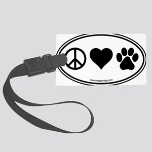 Peace Love Paws Black Large Luggage Tag