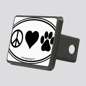 Peace Love Paws Black Rectangular Hitch Cover