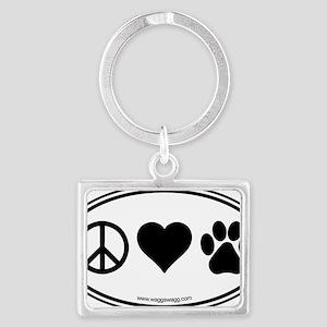 Peace Love Paws Black Landscape Keychain
