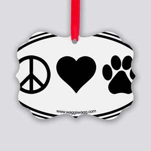 Peace Love Paws Black Picture Ornament