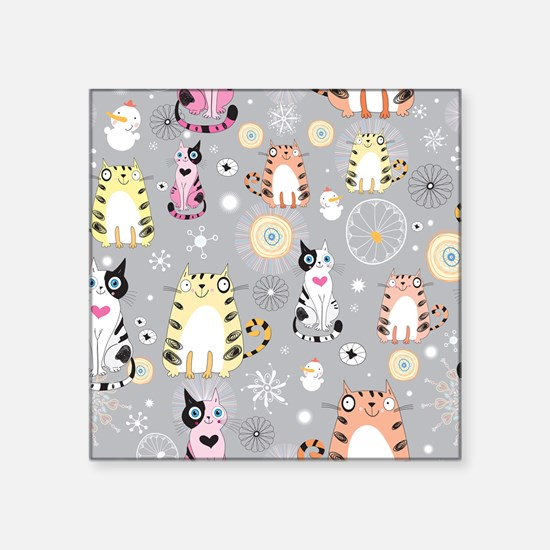 "Cute Cats Square Sticker 3"" x 3"""
