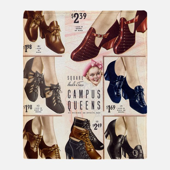 1930s Campus Queen Shoes Throw Blanket